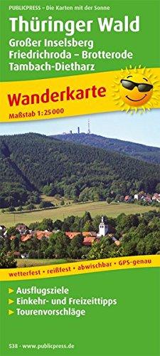 Thüringer Wald, Großer Inselsberg - Friedrichroda - Brotterode - Tambach-Dietharz: Wanderkarte mit Ausflugszielen, Einkehr- & Freizeittipps, ... GPS-genau. 1:25000 (Wanderkarte / WK)