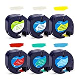Samshion Compatible Label Tape Replacement for 12mm DYMO LetraTag Refills Paper/Plastic Tape 91330 91331 91332 91333 91334 91335 Color for Letra Tag Plus LT-100H LT-100T Label Maker,1/2' x 13,6-Pack
