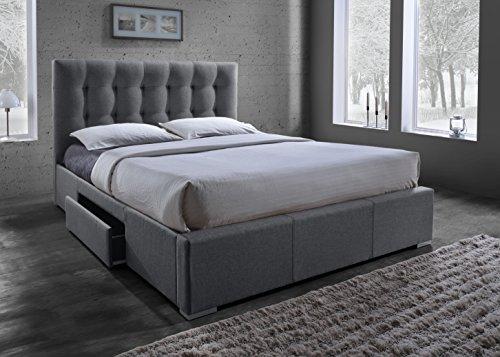 Baxton Studio Sarter Grid-Tufted Fabric Upholstered Storage Bed