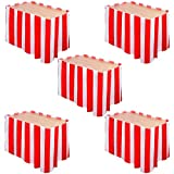 Elcoho 5 Pack Carnival Table Skirt Red and White Striped Table Skirt Fits Rectangle or Round Tables Party Theme Tables for Circus Theme Party Decorations
