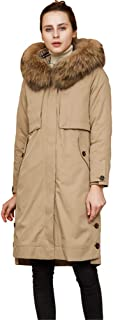 3 In1 Winter Jacket Women Faux Fur Collar Womens Coats Long Down Parka Lady Hoodies Parkas Warmer Classical Jackets,Brown,XXL