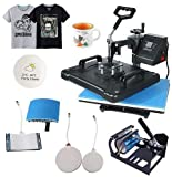 Heat Transfer Machine 5 in 1 Heat Press Combo Multifunctional Swing Away Clamshell Sublimation Shirt Printing Heat Presser for T Shirts Hat Mug Plate 15' x 12'