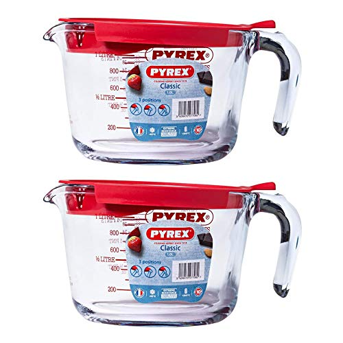 Pyrex Classic Glass Measuring Jug with Lid High Resistance 1.0 Litre Transparent (Pack of 2)
