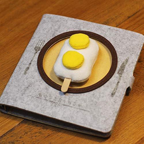 Notizbuch Leeres Notizbuch Gourmet-Serie Notebook Tragbarer Auszug Notizblock-Grauer Leerer Teller + Doppeltes Eigelb-Eis1586