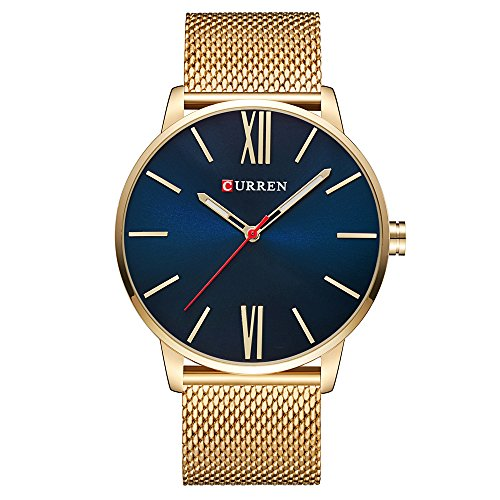Curren Men Watches Top Brand Ultra thin Dial Luxury Quartz Men Watch Waterproof Casual Sport (Gold ; Dial color - Blue)