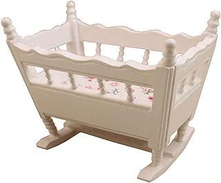 BYyushop Doll House Furniture Mini Crib, Girl Cradle 1/12 Doll House Miniature Wooden Crib Baby Cradle Model Furniture Accessory White