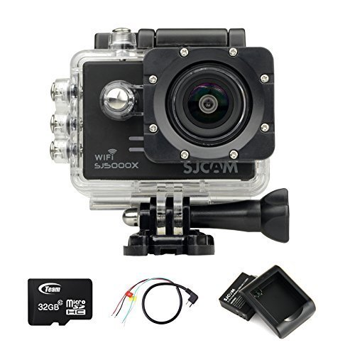 SJCAM SJ5000X WIFI Elite Edition Action Sport Cam Camera Waterproof Videocamera Fotocamera digitale Helmetcam(4K video @24FPS,Gyro Anti-Shake Stabilizzatore,Novatek 96660,2.0 inch LCD,12 Megapixel,Impermeabile 30 Metri)con 2 Batteria ricaricabile+Batteria Charger+32GB Micro SD card+AV to USB cable-Nero