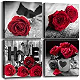 Red and Black Wall Decor for Bedroom Framed Canvas Prints Rose Wall Art Pictures Flower Paintings 12x12 Inch Living Room Bathroom Accessories Home Decorations Love Couple Gift Kitchen 4 Pcs Sets