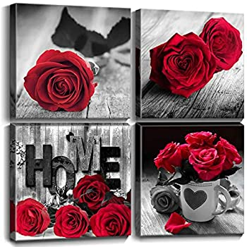 Bedroom Decor for Couples Canvas Wall Art Red Rose Prints Pictures 4Pcs/Sets Kitchen Bathroom Laundry Home Decorations Room Accessories Black and White Living Room Poster Paintings 12x12  Friends Gift