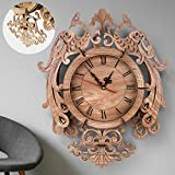 ZMZS 3D Wooden Pendulum Clock Puzzle Wood Models for Adults, Build Making Kits Clock-Laser Cut Wood Crafts Gift Retro Wall Clock DIY Construction Toy