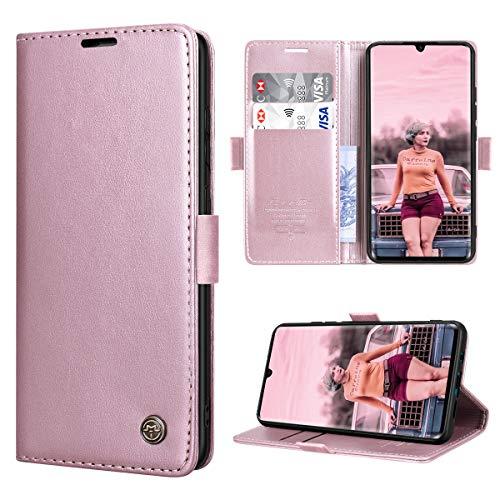 RuiPower para Funda Xiaomi Mi Note 10 con Tapa Funda Xiaomi Mi Note 10 Pro Libro Fundas de Cuero PU Premium Magnético Tarjetero y Suporte Carcasa Xiaomi Mi Note 10/ Mi Note 10 Pro - Oro Rosa