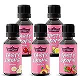 GymQueen Tasty Drops 5x30ml, Kalorienfreie, Zuckerfreie und Fettfreie Flavour Drops, Aroma Tropfen...