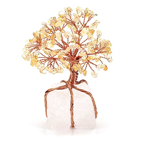 CrystalTears Citrine Crystal Money Tree Natural Healing Gemstone Bonsai Tree Copper Wrapped on Clear Quartz Cluster Base Feng Shui Crystal Stone Tree Ornament for Home Office Decor Good Luck