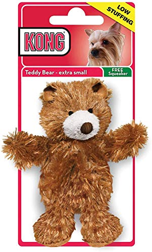 KONG - Plush, Low Stuffing Squeak Teddy Bear Dog Toy -Replacement Squeaker Included- For X-Small Dogs