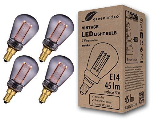 4x greenandco® Vintage Design LED Lampe zur Stimmungsbeleuchtung E14 ST45 Edison Glühbirne 2W 45lm 2000K smoke extra warmweiß 320° 230V flimmerfrei nicht dimmbar 2 Jahre Garantie