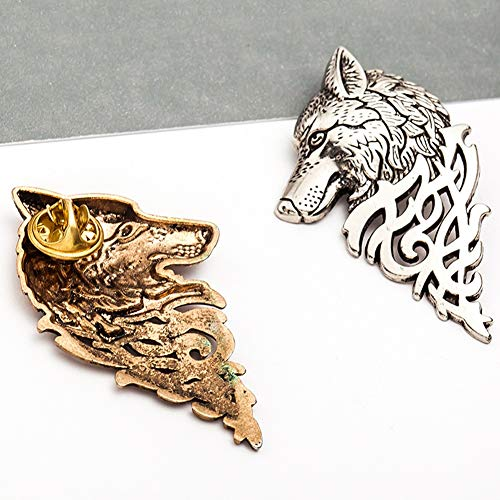 ANKIKI Retro Wolfskopf Broschen Pins Persönlichkeit Männer Anzugkragen Brosche Clip Partykleider Hochzeitsaccessoires,Silver