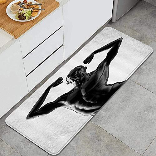 FOURFOOL Küchenläufer,Fitness-Thema Schwarze Skulptur sexy Muskel einfach kreativ,Küchenmatte Küchenteppich rutschfeste Waschbar Teppich Küche Fußmatte