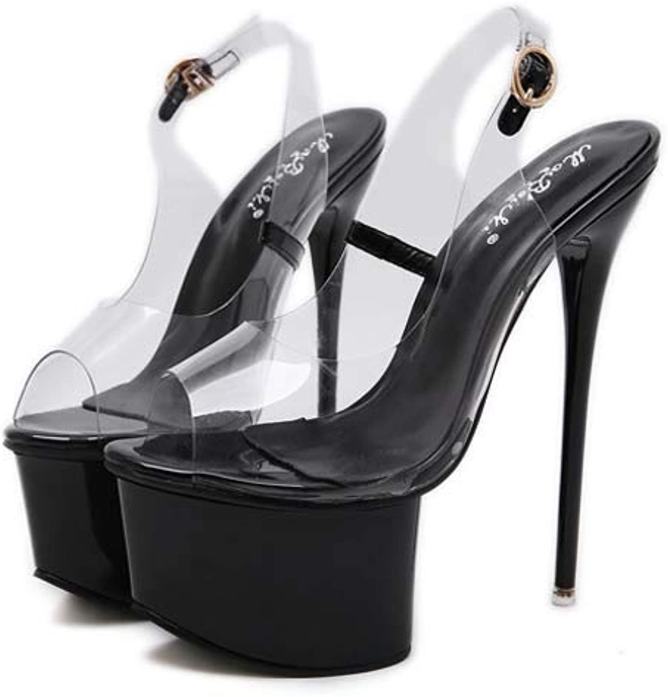 Women's Pleaser Heels,Stripper shoes Sandal,with Ankle Strap Platform Heels,Clear High Heels for Ladies