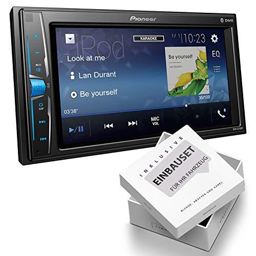 Pioneer MVHA210 2-DIN Mediareceiver Bluetooth USB AUX Bluetooth geschikt voor Kia Sorento III, mit USB-Adapter, zwart
