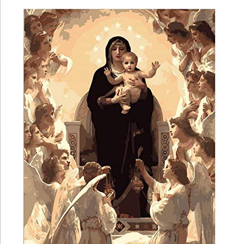 DIY Oil Painting Figura de la Virgen María DIY Pintura Digital por números Arte Moderno de la Pared Pintura de la Lona Navidad Decoración para el hogar 40x50 cm-Without Frame