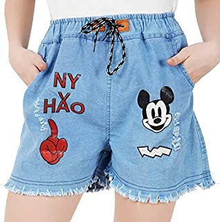 Abdullha Garment Denim Wash Micky Mouse Printed Shorts for Women