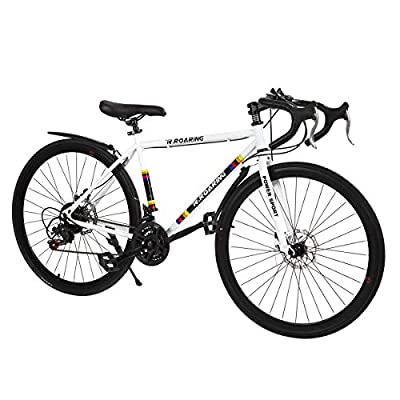DOMDIL Commuter Road Bike 26 inch Wheels 21 Speed Shifting Bikes Dual Disc Brake Road Bicycle for Adults, White