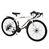 DOMDIL Commuter Road Bike 26 inch Wheels 21 Speed Shifting Bikes Dual Disc Brake Road Bicycle for...