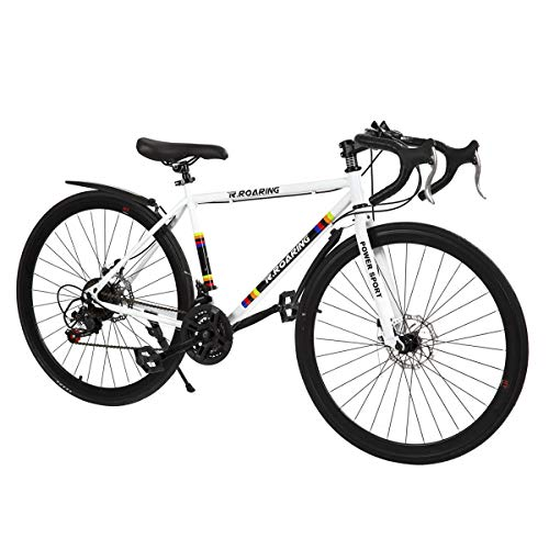 R.ROARING Commuter Road Bike 26 inch Wheels 21 Speed Shifting Bikes Dual Disc Brake Road Bicycle for Adults Mens Women, White