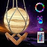 CoMokin Nuevo Lámpara de Luna 3D 16 Color LED Recargable Luz Júpiter, 15cm Lampara Júpiter con Soporte de Madera y red Colgante, Control Remoto y Control Táctil para Bebés, Amigos