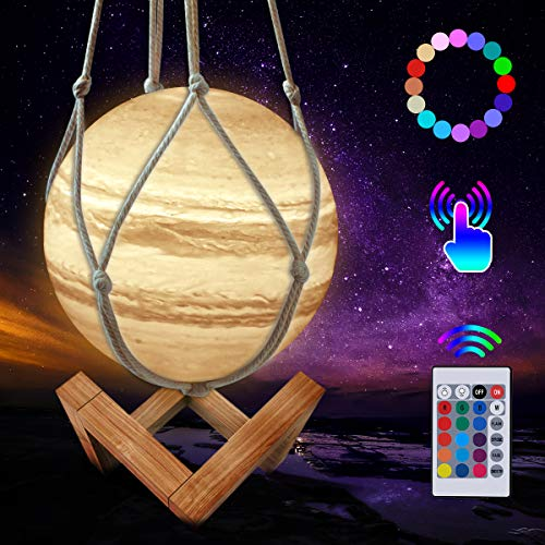 JBHOO New 3D Moon Lamp 16 Colors LED Rechargeable Jupiter Lamp, Dimmable Baby Night Light with Wooden Stand and Hanging Net, Remote and Touch Control for Baby Kids Friends Families