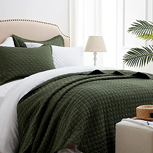 SunStyle Home Quilt Set Twin Olive Green Lightweight Bedspread Soft Reversible Coverlet for All Season 2pcs Army Green Diamond Quilted Bedding Sets (1 Quilt 1 Pillow Sham)(68'x86')