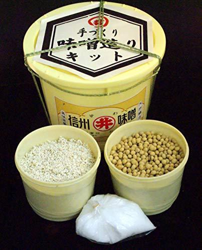 味噌造りキット(生麹、大豆、塩、酵母たっぷり種味噌がセットされております。たっぷり3.6kg味噌ができます。(原料は全て国産) 樽と説明書付き)クール便