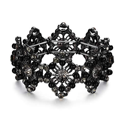 Clearine Armreif Hochzeit Braut Diamant Geformte Simulierte Perle Kristall Edelstein Perlen Stretch Armband für Damen Schwarz-Ton Grau