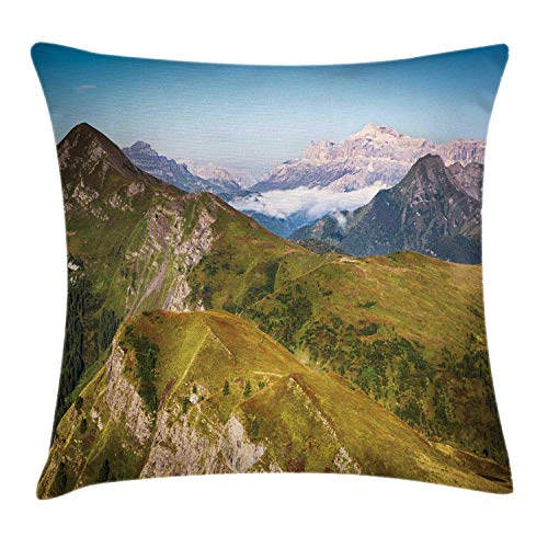 N / A Stylish Pillowslip,Personalized Pillowcase,Sofa Cushion Cover,Hotel Throw Pillow Cover,Landscape Mountains Scenic Green Peaks Clear Sky Italy Alps Photo Square Pillow
