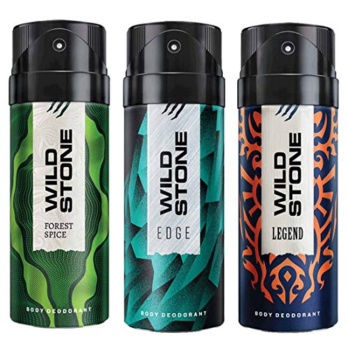 Wild Stone Edge, Legend and Forest Spice Deodorant For Men 150 ML Each (Pack Of 3)