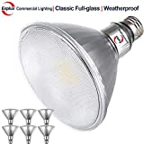 Explux Classic Full-Glass PAR38 LED Flood Light Bulbs, Dimmable, 3000K Bright White, Indoor/Outdoor, 120W Equivalent, 6-Pack