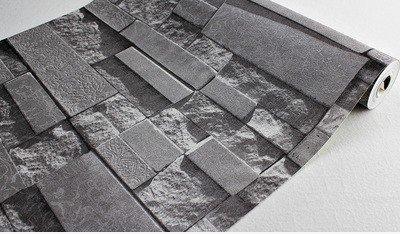 xiajingjing 3D Brick Muster, Dunklen grauen Hintergrund Tapete Schlafzimmer Wohnzimmer TV Shop Kreative Persönlichkeit Retro Tapete, dark grey,Only the wallpaper, 3rd