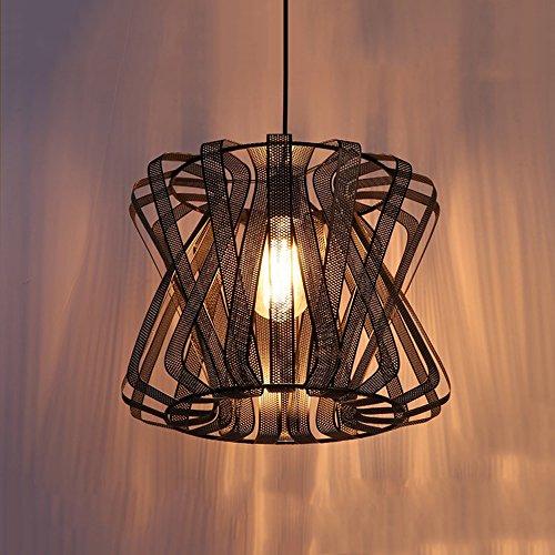 Pointhx 13.78Inch Industrial Retro 1-Licht Einstellbare Eisen Net Pendelleuchte mit Metallschirm in Schwarz Decke Kronleuchter Lampe Gang Küche Wohnzimmer Hängeleuchte
