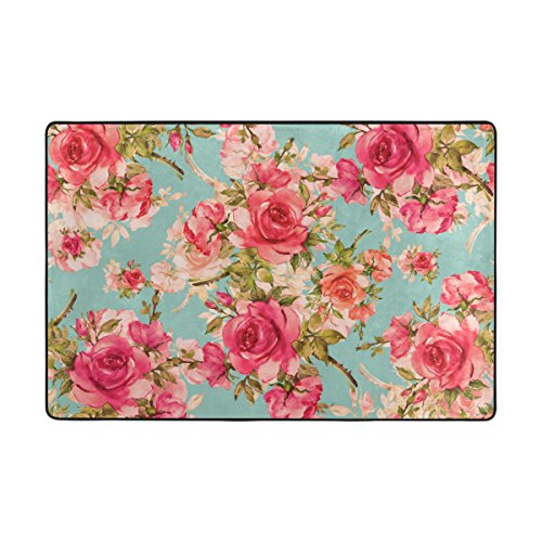 ALAZA My Daily Teppich mit schönem Rosenmuster, Vintage-Blumenmuster, 1,2 x 1,8 m, für Wohnzimmer, Schlafzimmer, Küche, dekorativ, Leichter Schaumstoff-Teppich, Polyester, Mehrfarbig, 4' x 6'