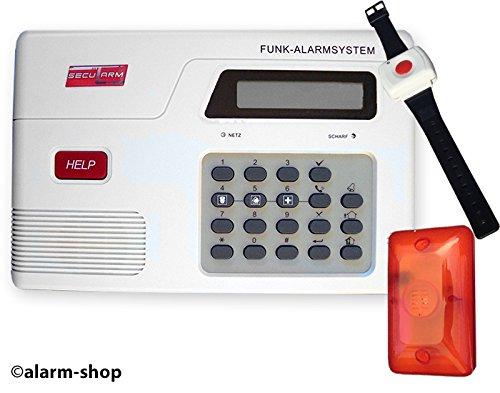 Secularm Hausnotruf Set Panik System mit Notrufarmband Uhr Panik Uhr