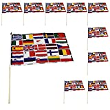 Sonia Originelli 10er Set Fahne Flagge Winkfahne WM Fußball Fan Stab Farbe EU 25 Länder