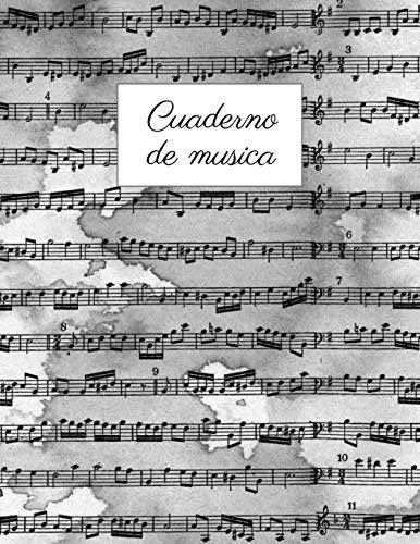 Cuaderno de musica: Cuaderno de Música con 8 Pentagramas Por Página, Muy Fácil Para Escribir Notas   Libreta Notación Musical   Tamaño A4   120 páginas   Para escuela y práctica individual