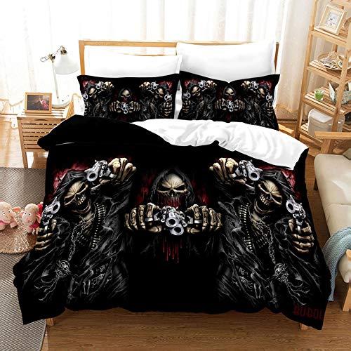 QXbecky Halloween Werewolf Death SkullKnight Flame 3D Printing Microfiber Thermal Bedding Quilt Cover Pillowcase 3-Piece Set