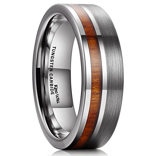 King Will Nature Tungsten Carbide Wedding Band 7mm Silver Brushed Ring with Wood Inlay Comfort Fit(13)