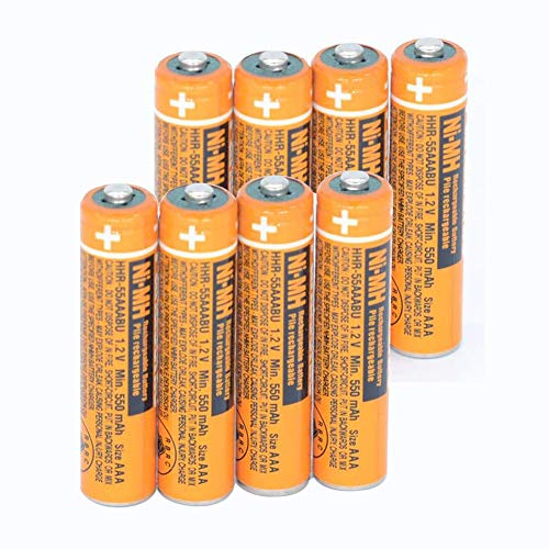 8PCS NI-MH AAA Rechargeable Battery for Panasonic HHR-55AAABU 1.2V Replacement Battery