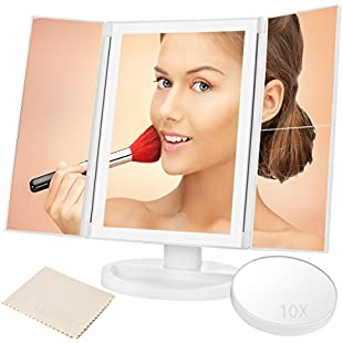 Illuminated Makeup Mirror with lights, Trifold Dressing Table Mirror Vanity Mirror 10X 3X 2X 1X Magnification Light Control Touch Screen, 180 Degree Rotation Countertop Cosmetic Mirror Daylight