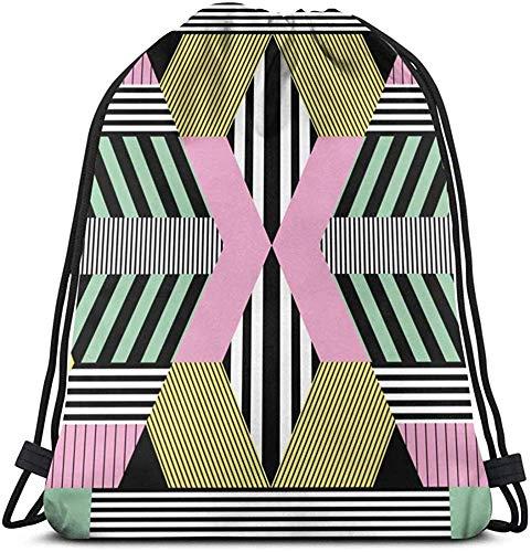 Mei-shop Unisex Drawstring Bag Retro Bauhaus Style Rucksack Sport Gym Schultasche