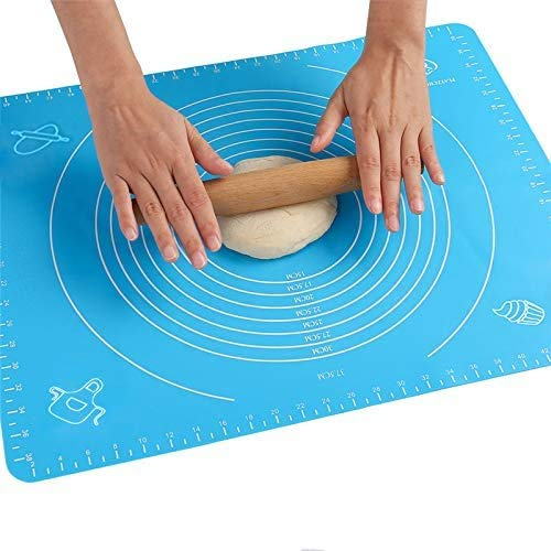50x40cm197x158 Non Stick Silicone Baking Mats Reusable Rolling Pastry Mat for Heat Resistant Nonskid Placement MatSilicone Baking Mat for Pastry Rolling Dough Art and Craft Mat Blue