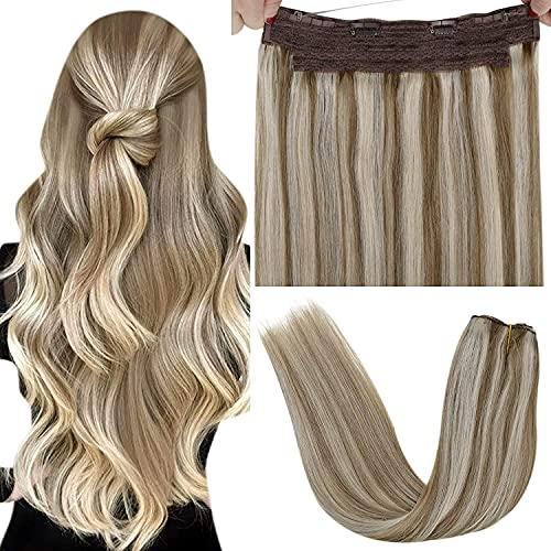 Fil Extension Cheveux Humain, LaaVoo Fil Extension à Double Fil Invisible Cheveux Highlight Brun Clair Mixte Blond Clair Remy Invisibile Fil Humain Cheveux Naturel Extensions Lisse 80g 12Pouce