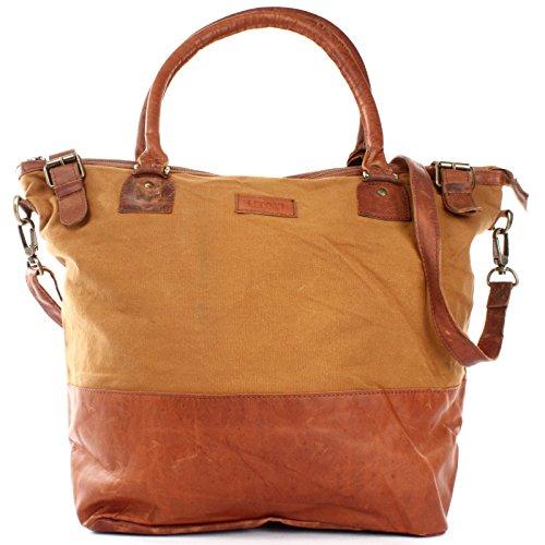 LECONI XL Shopper für Damen kleiner Weekender Beuteltasche große Frauen Schultertasche Wickeltasche Umhängetasche aus Canvas & Leder 50x41x20cm cognac LE2005-C